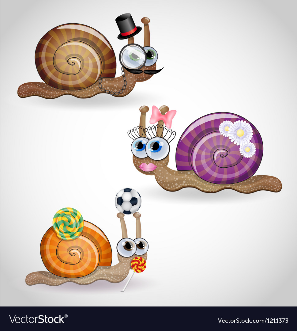 Isolated funny snails family vector | Price: 3 Credit (USD $3)