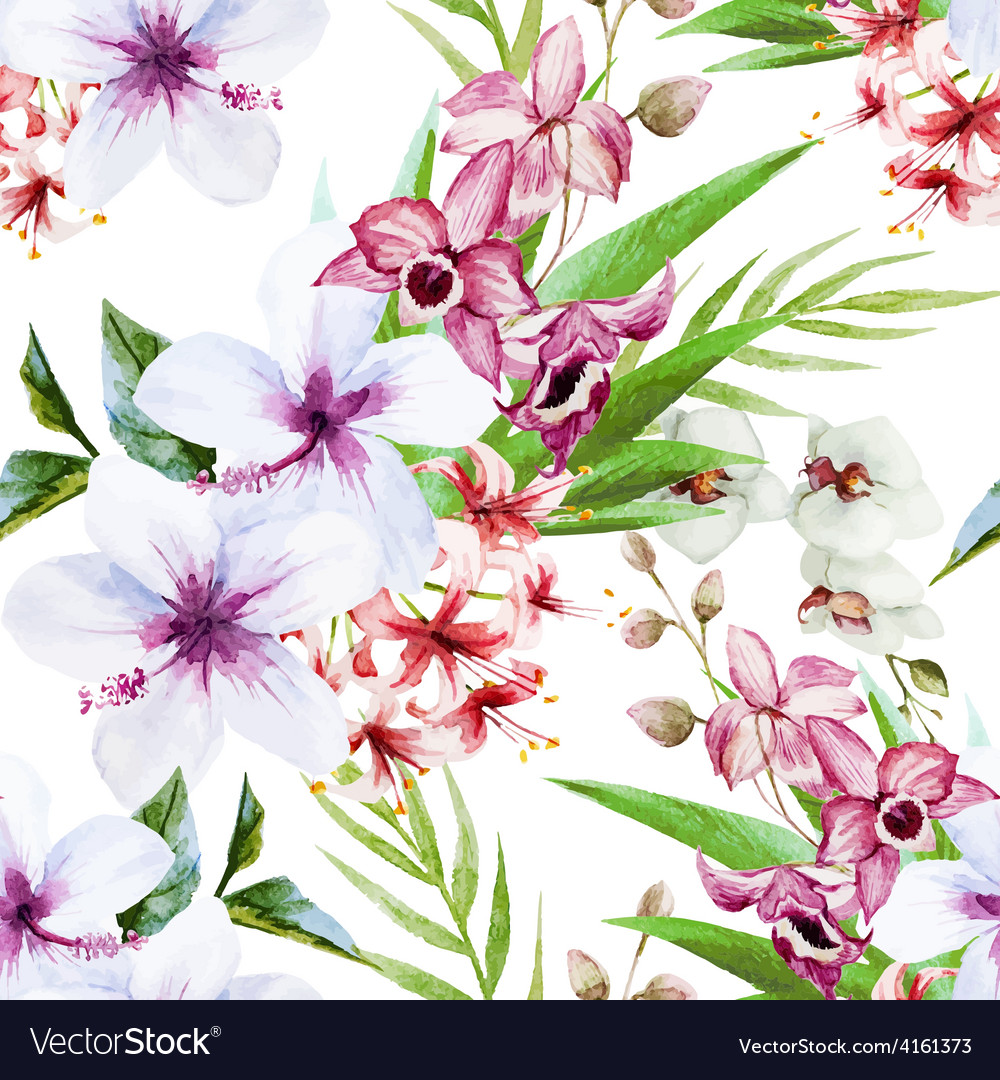 Orchid pattern vector | Price: 1 Credit (USD $1)