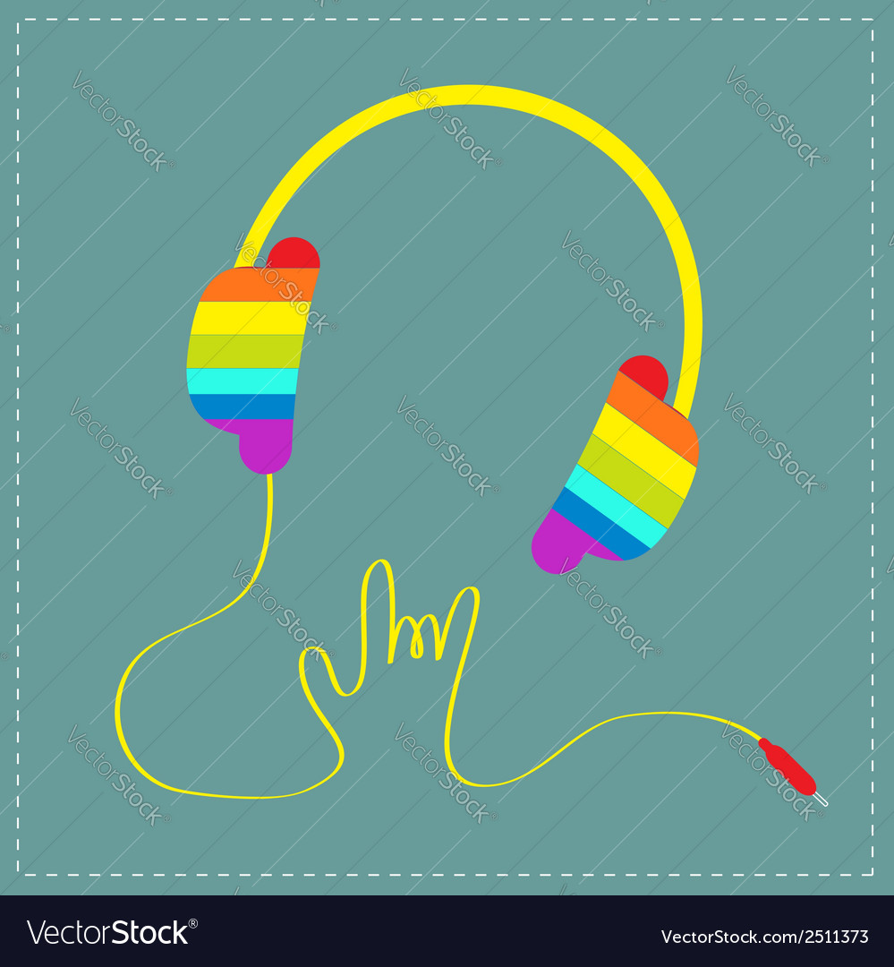 Rainbow headphones with cord rock and roll vector | Price: 1 Credit (USD $1)