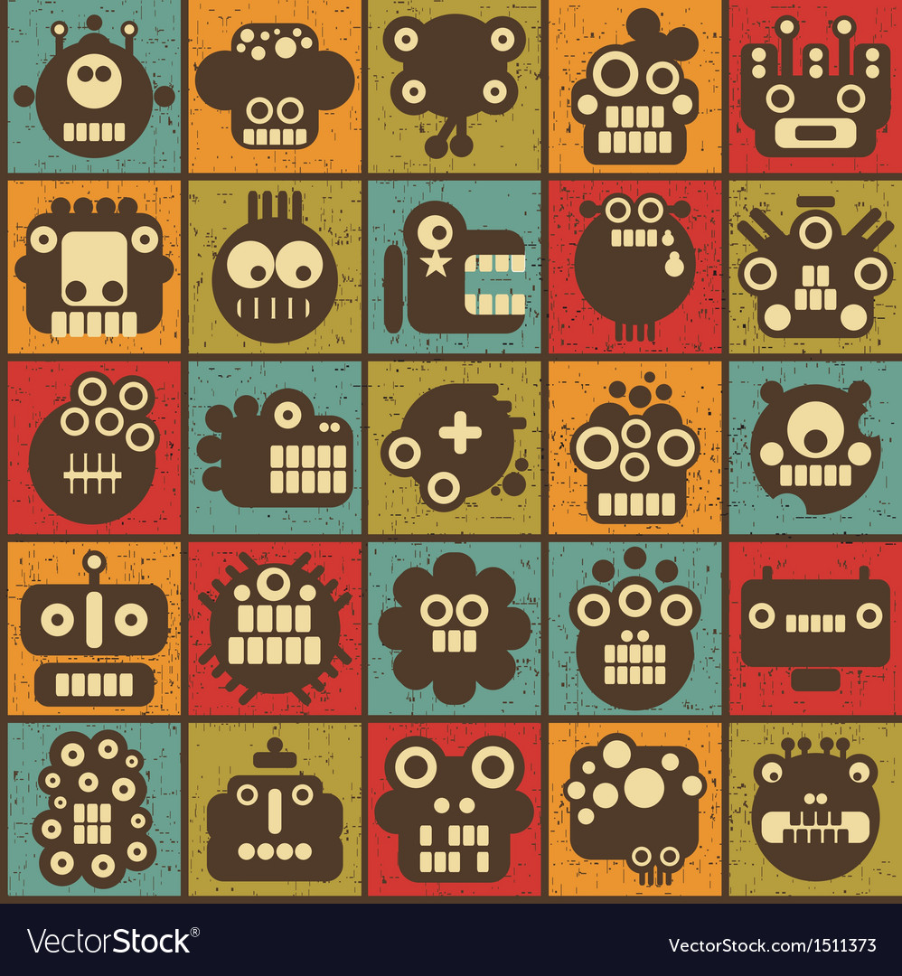 Robot and monsters cell seamless background vector | Price: 1 Credit (USD $1)