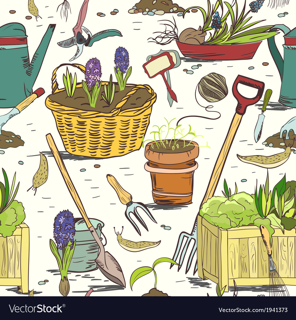 Seamless gardening tools pattern background vector | Price: 1 Credit (USD $1)