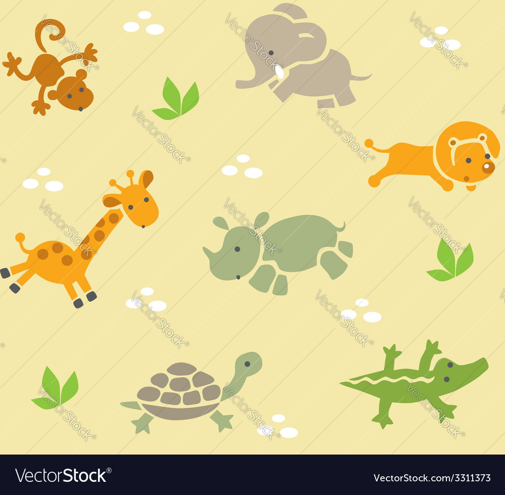 Seamless pattern with funny african animals vector | Price: 1 Credit (USD $1)
