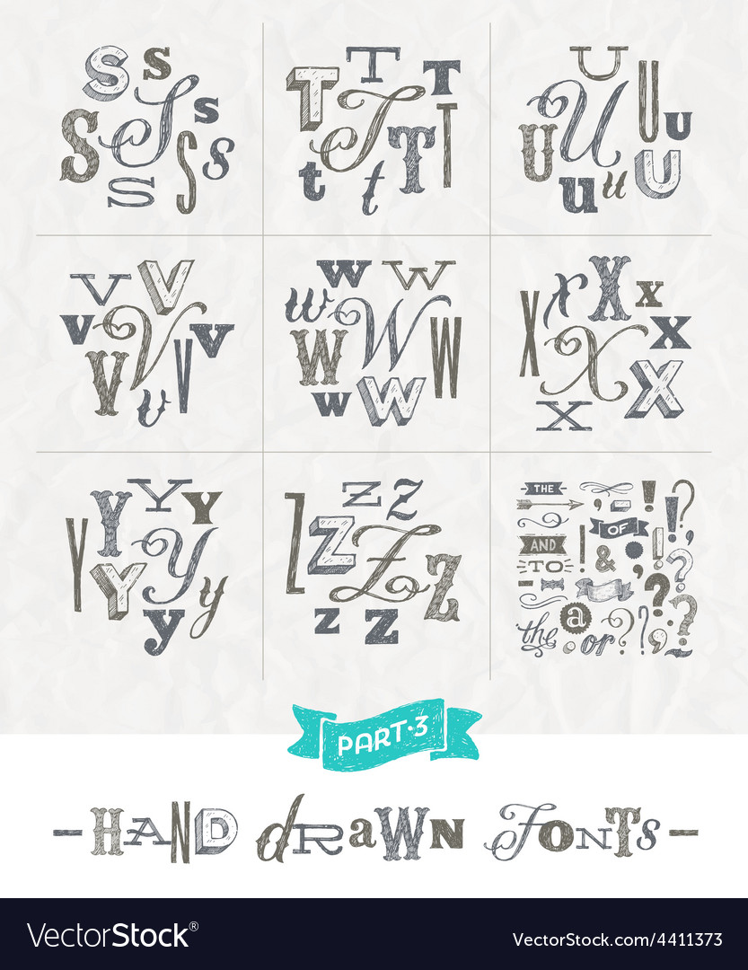 Set of hand drawn different fonts for a headlines vector | Price: 1 Credit (USD $1)