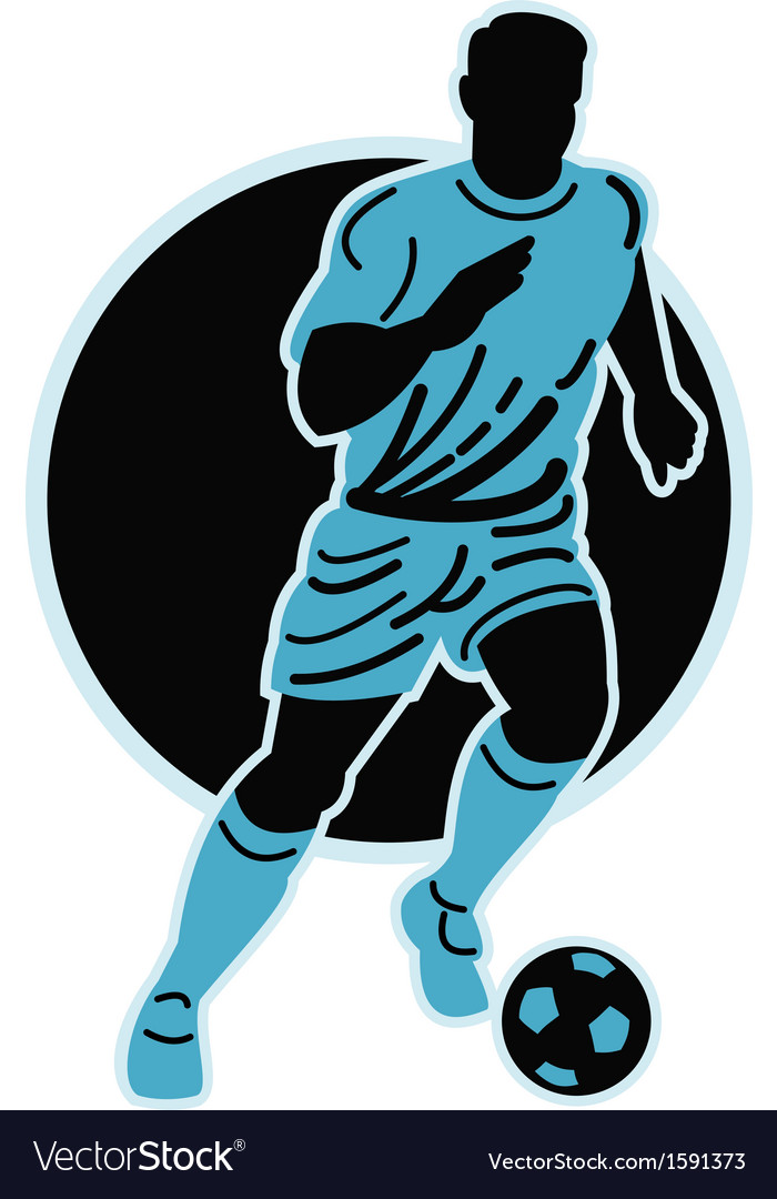 Soccer player running with the ball vector | Price: 1 Credit (USD $1)