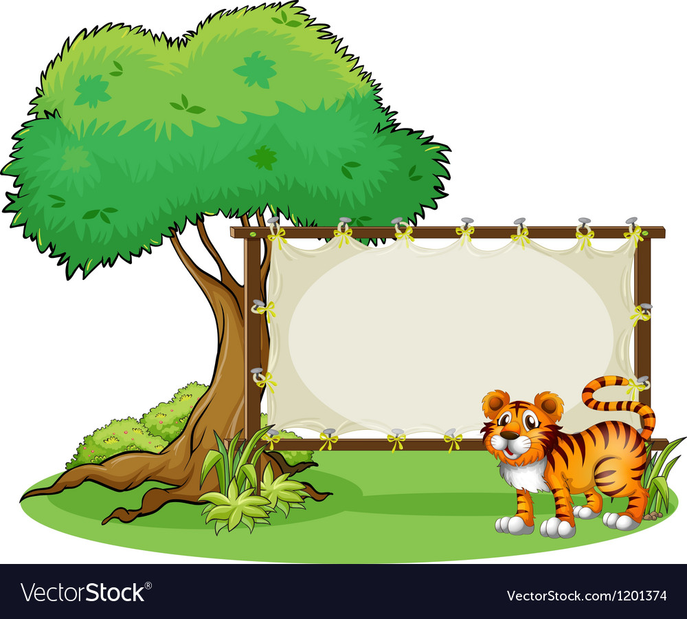 A tiger beside a wooden frame near a big tree vector