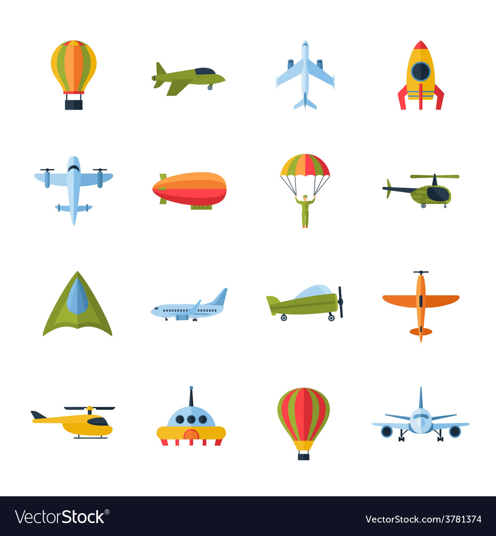 Aircraft icons set flat vector | Price: 1 Credit (USD $1)