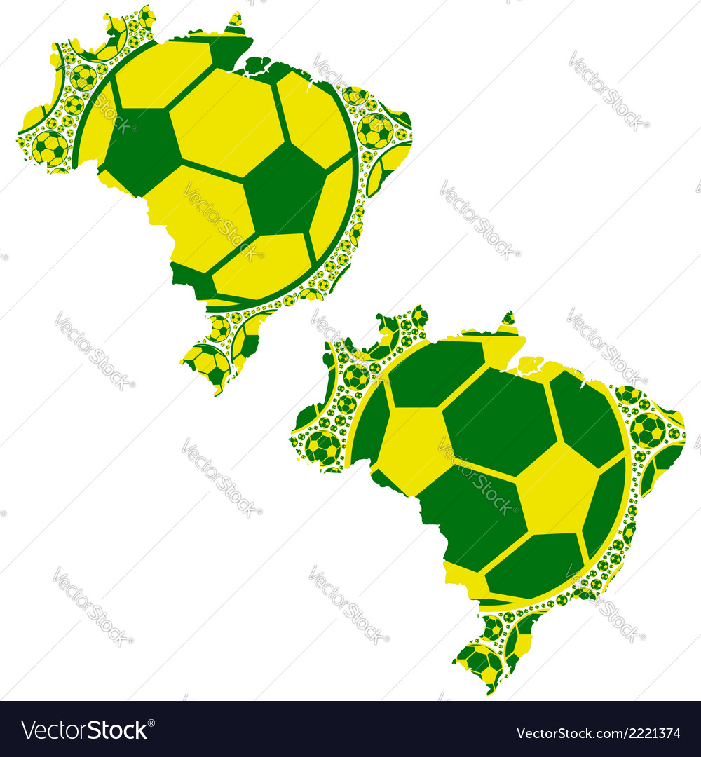 Brazil map soccer balls vector | Price: 1 Credit (USD $1)