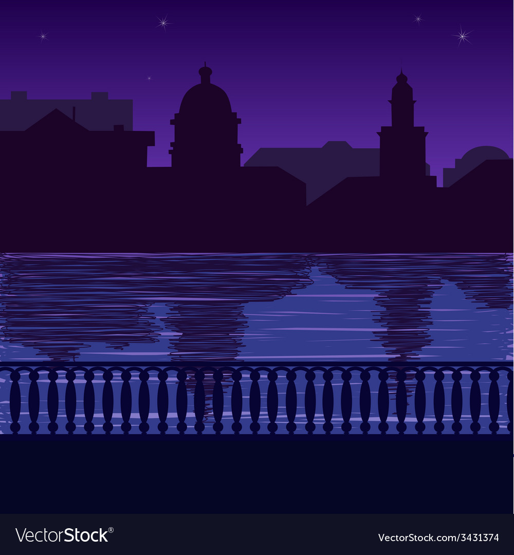 City skyline at night quay vector | Price: 1 Credit (USD $1)