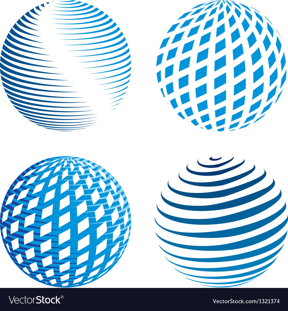 Collection of abstract globe icons vector | Price: 1 Credit (USD $1)