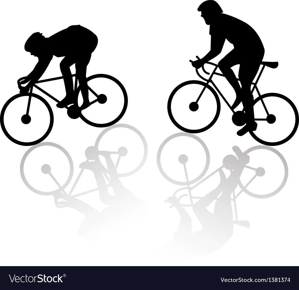 Downhill and uphill cyclist vector | Price: 1 Credit (USD $1)
