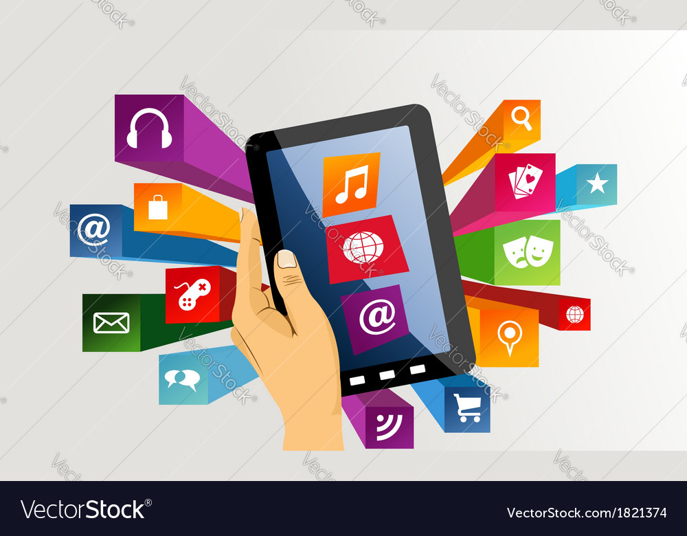 Human hand holds tablet pc with app icons vector | Price: 1 Credit (USD $1)