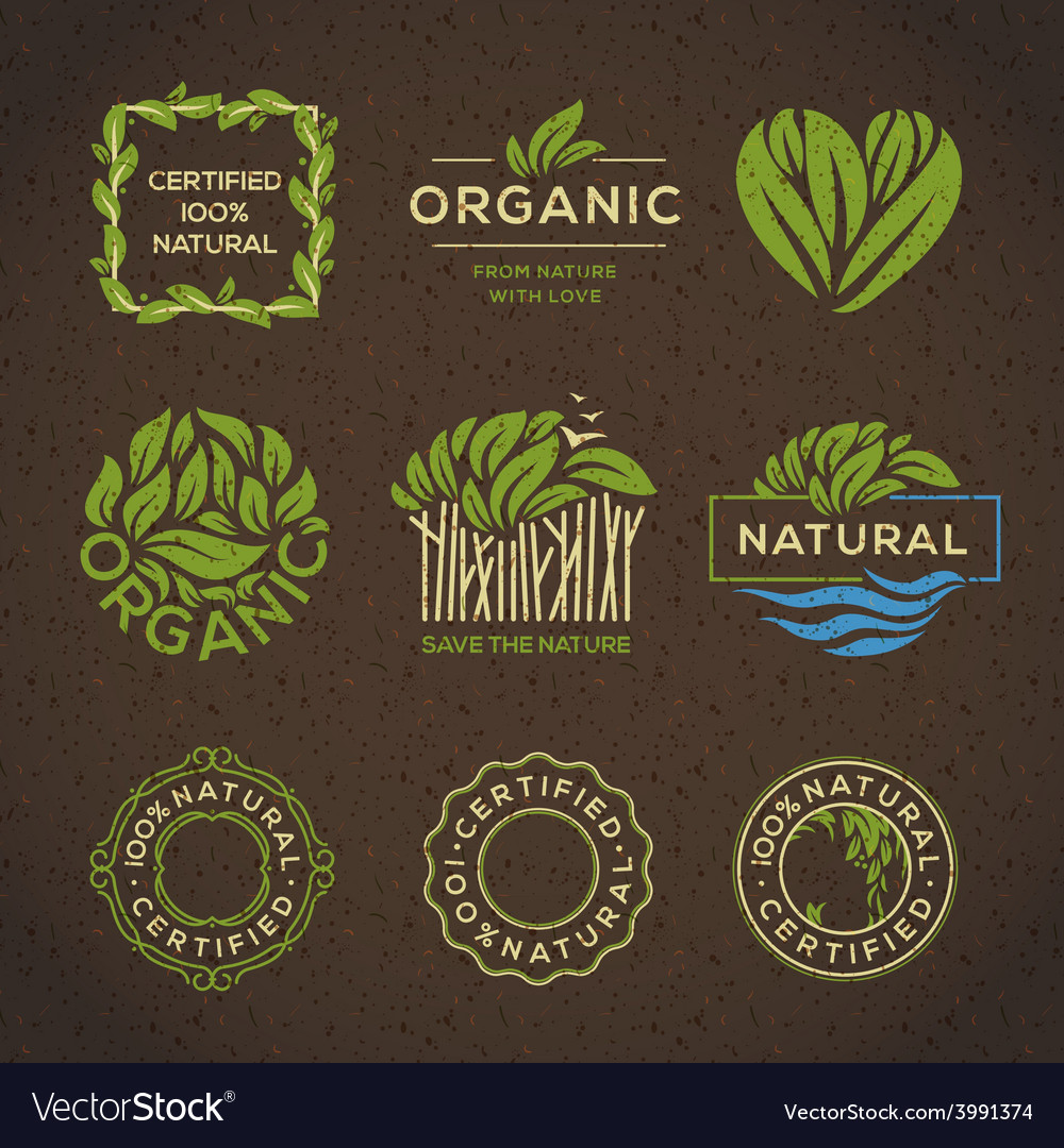 Organic food labels and elements vector | Price: 1 Credit (USD $1)