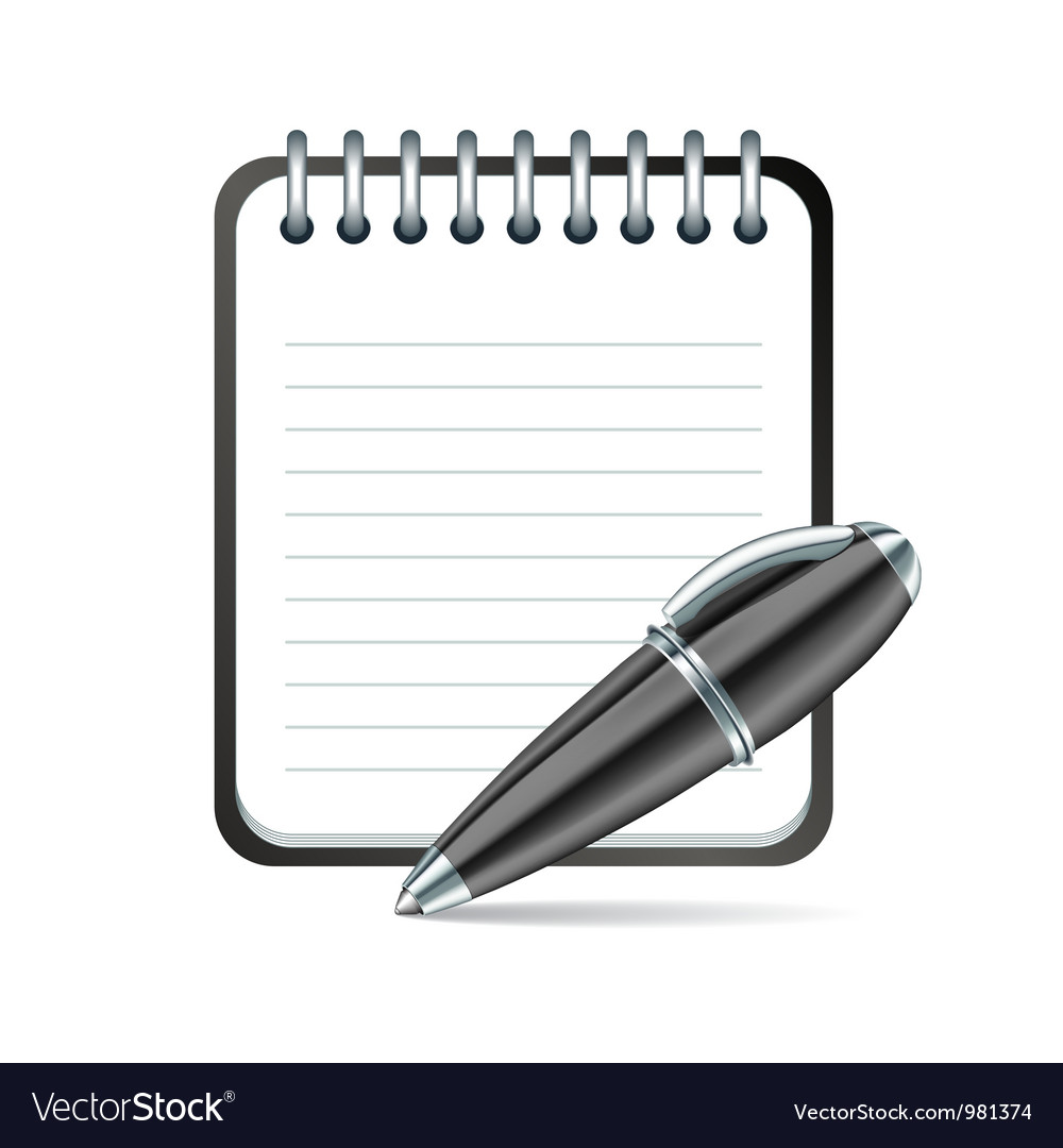 Pen and notepad icon vector | Price: 3 Credit (USD $3)