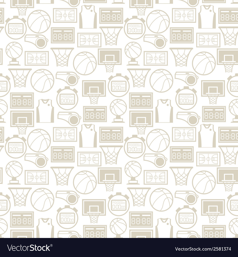 Sports seamless pattern with basketball icons in vector | Price: 1 Credit (USD $1)