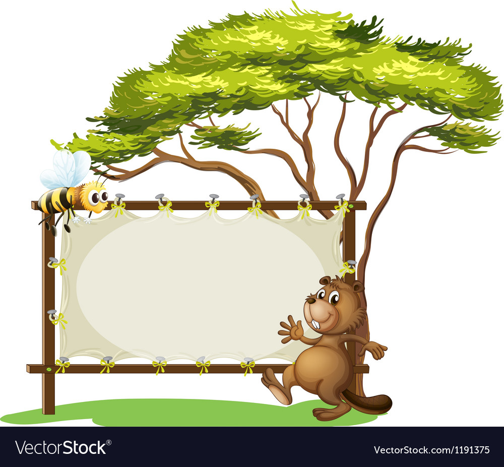 A beaver beside an empty ad space vector | Price: 1 Credit (USD $1)