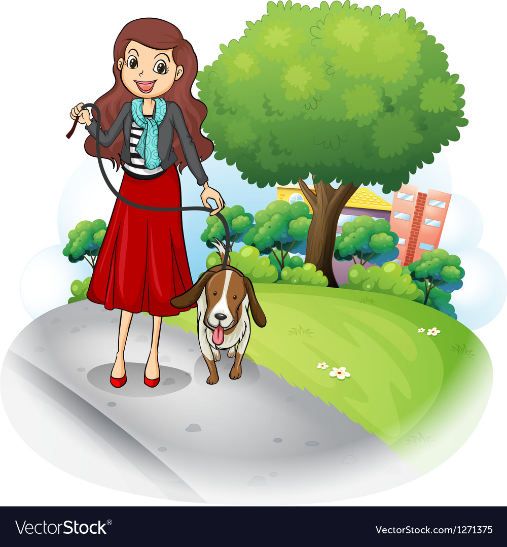 A woman with her dog at the road vector | Price: 1 Credit (USD $1)