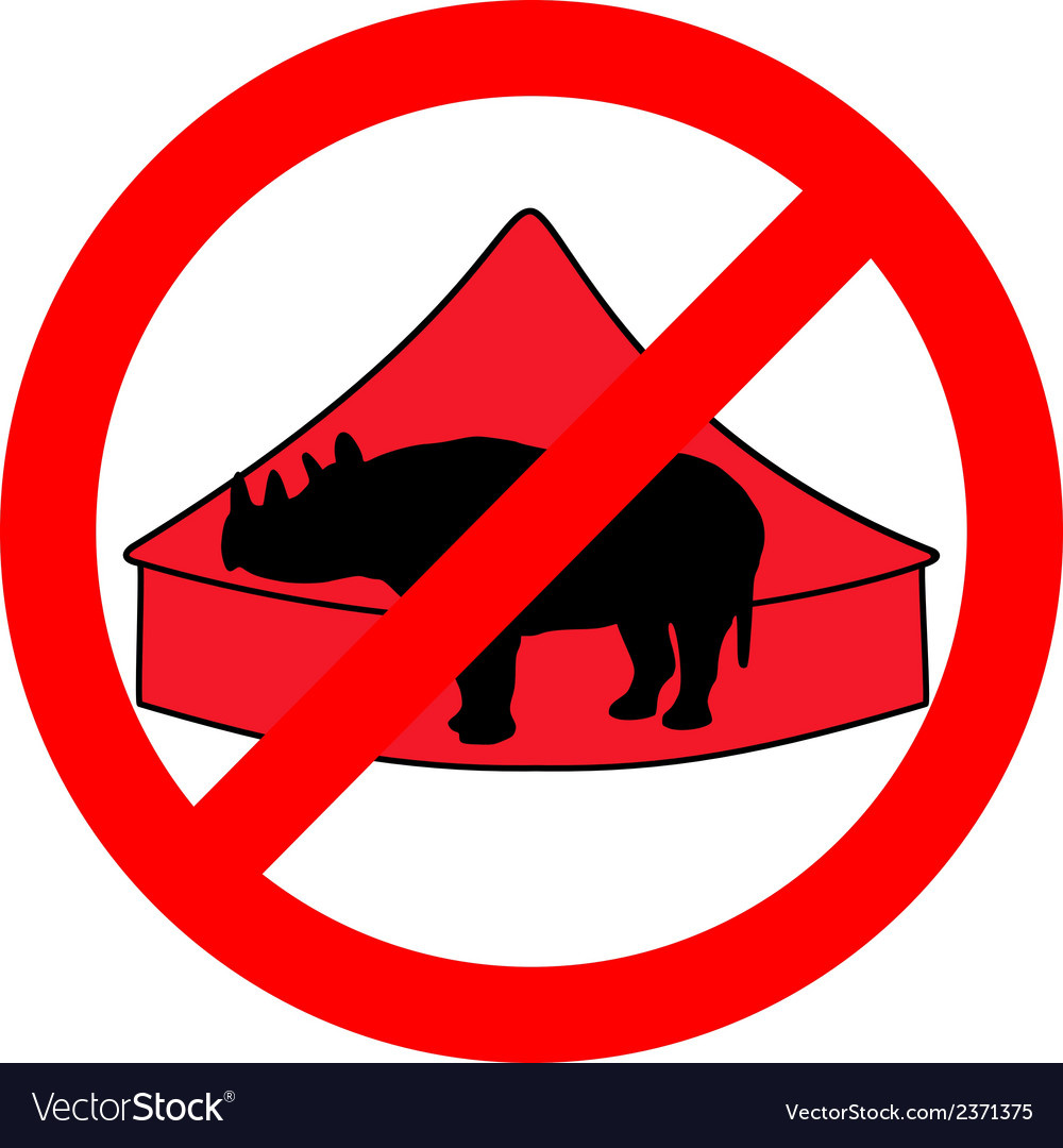 Black rhino in circus prohibited vector | Price: 1 Credit (USD $1)