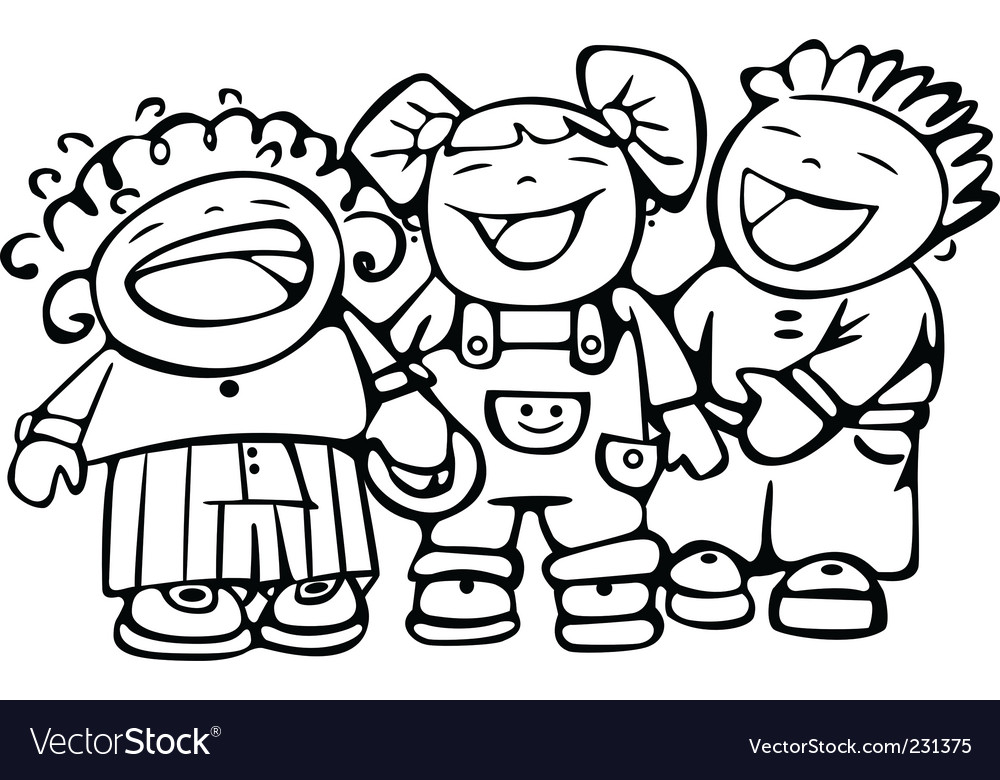 Children laughing vector | Price: 1 Credit (USD $1)