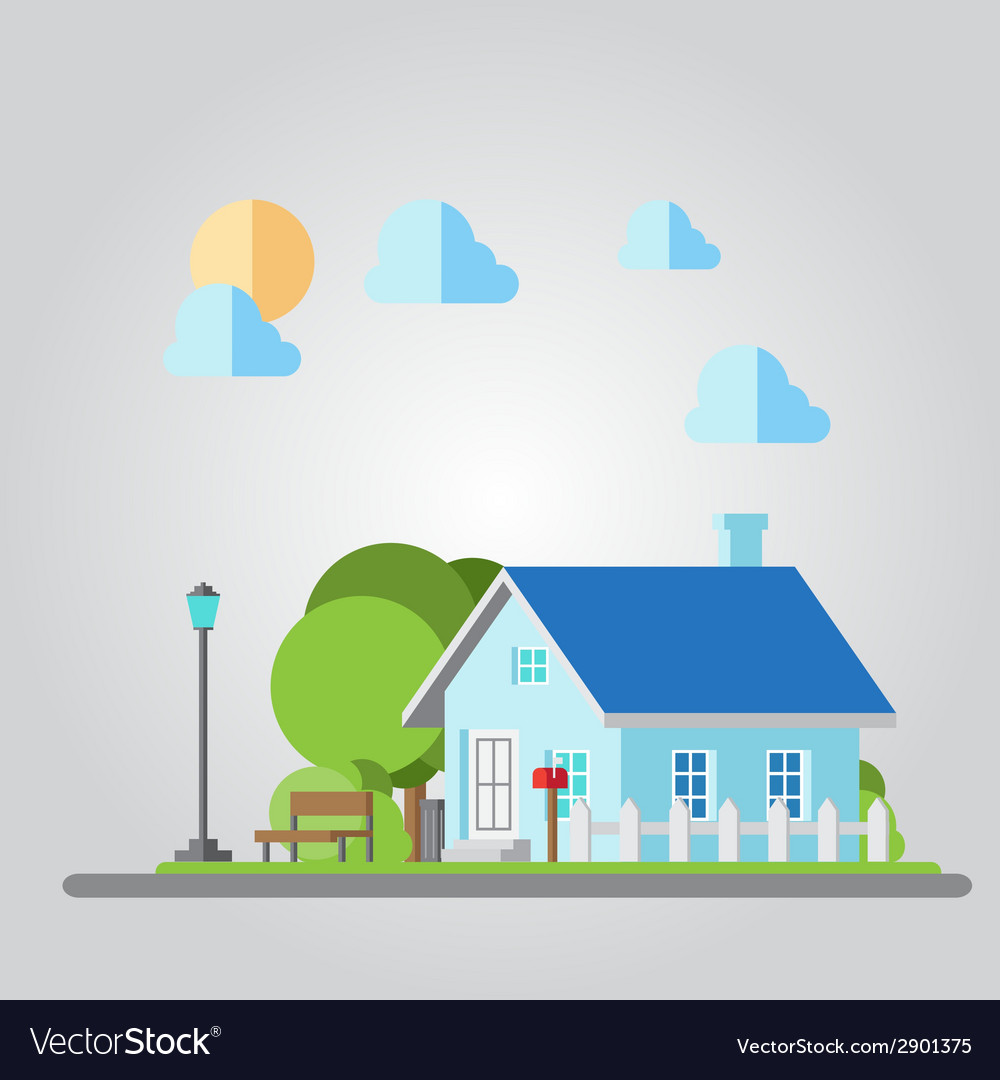 Flat design countryside house vector | Price: 1 Credit (USD $1)