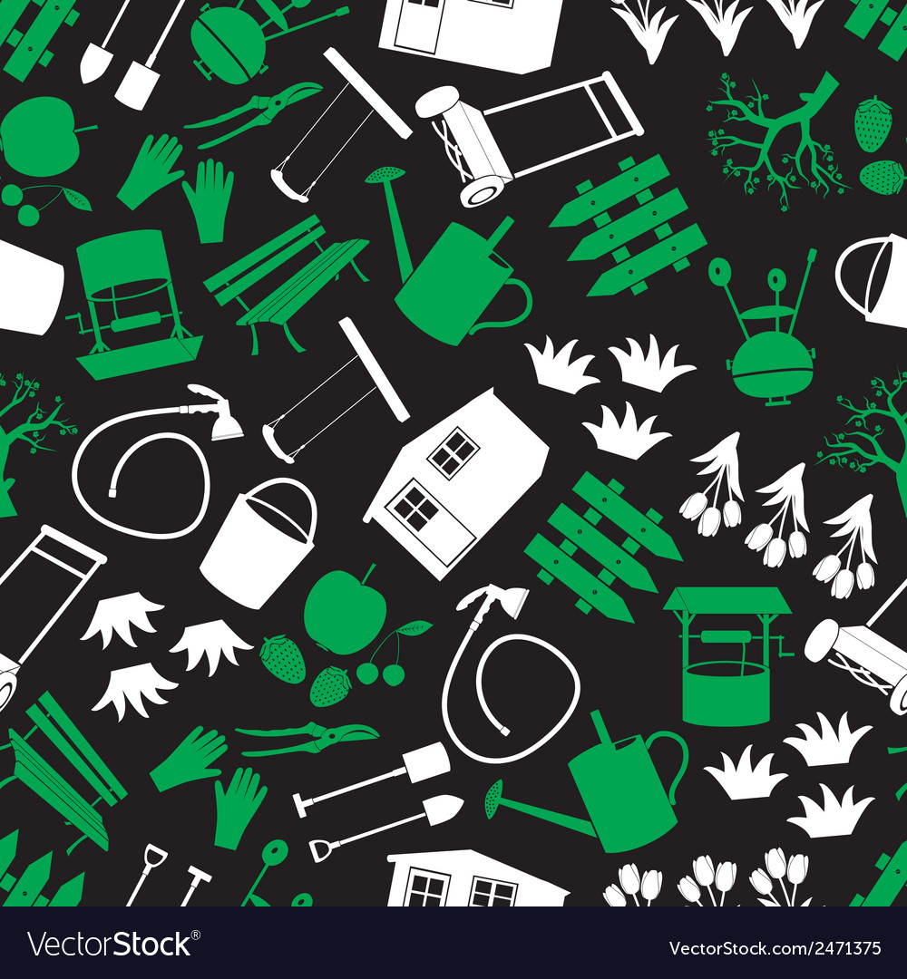 Garden green white and black seamless pattern vector | Price: 1 Credit (USD $1)