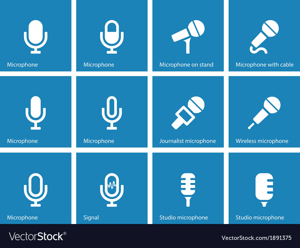 Microphone icons on blue background vector | Price: 1 Credit (USD $1)