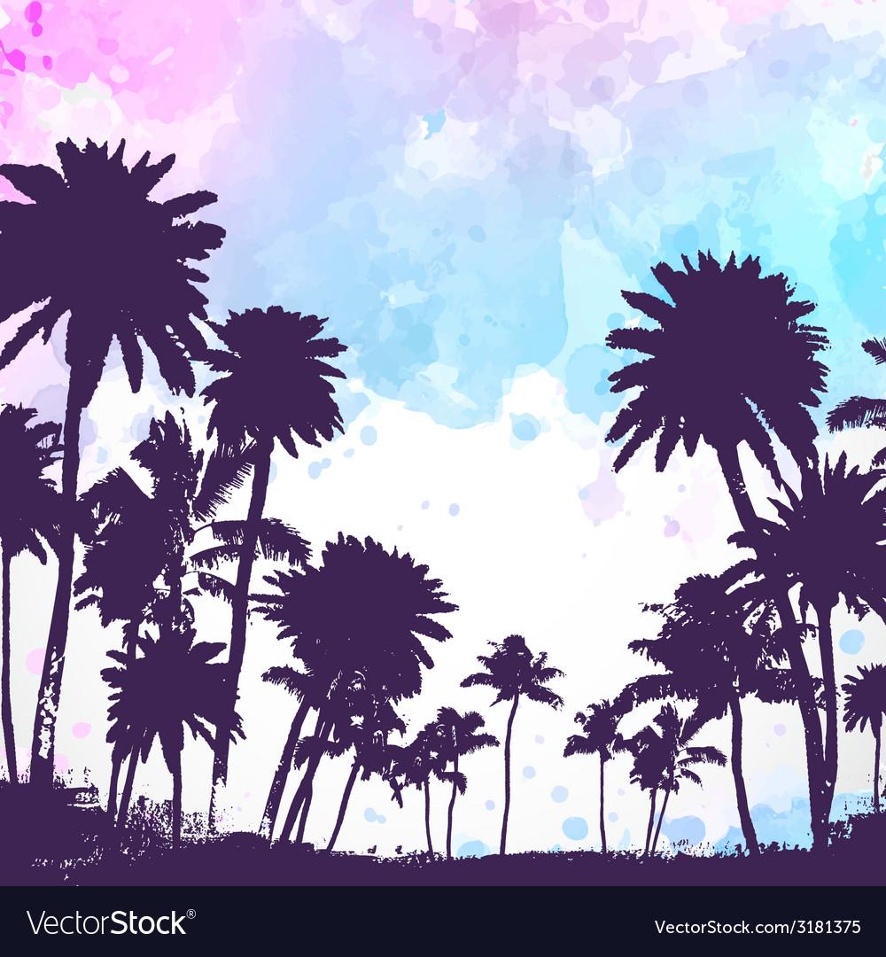 Palm trees on watercolor background vector | Price: 1 Credit (USD $1)