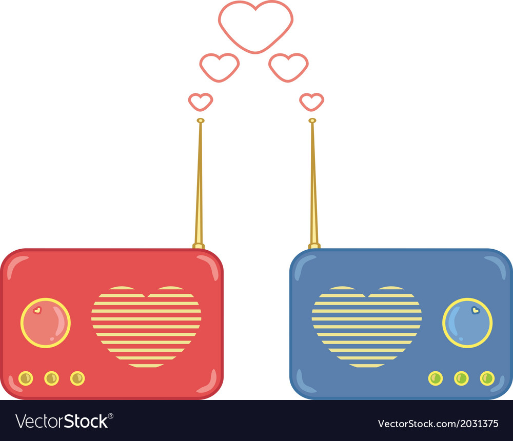 Pretty pink and blue radio with heart vector | Price: 1 Credit (USD $1)