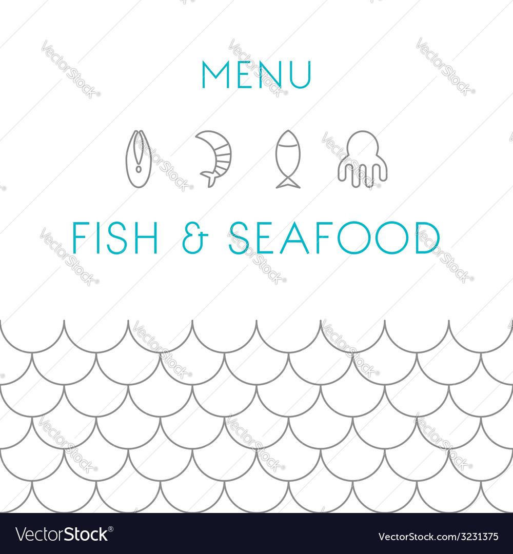 Restaurant menu design template seafood vector | Price: 1 Credit (USD $1)