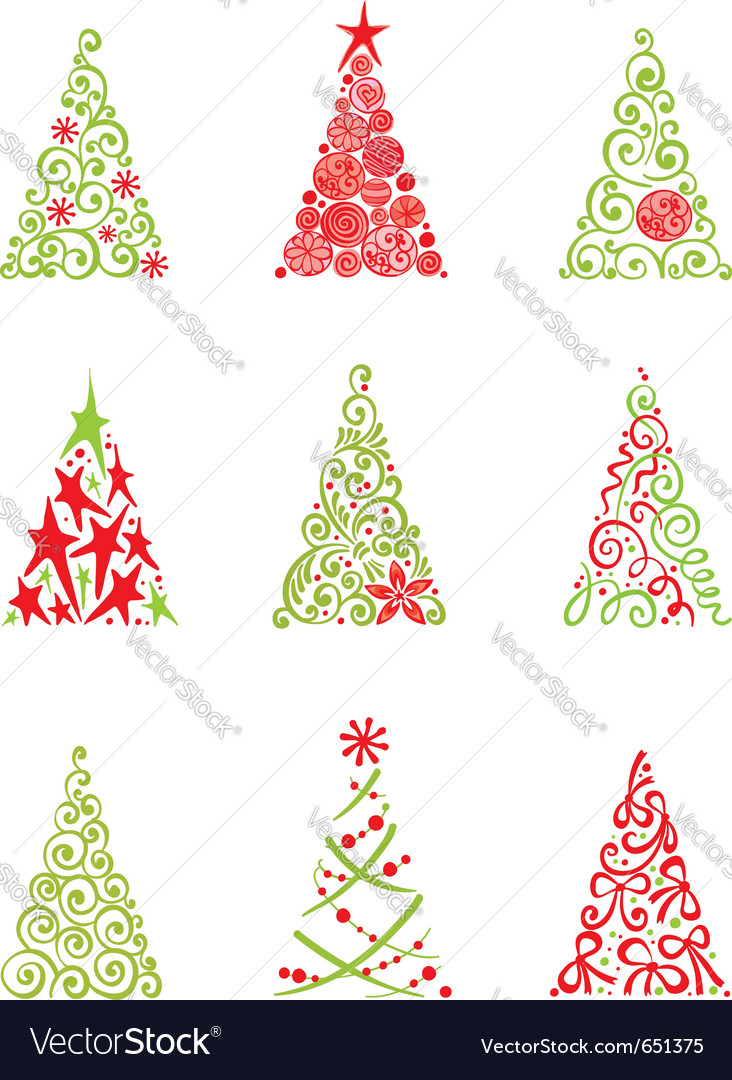 Set of modern christmas trees vector | Price: 1 Credit (USD $1)