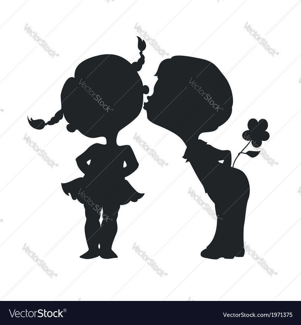 Silhouettes of kissing boy and girl vector | Price: 1 Credit (USD $1)