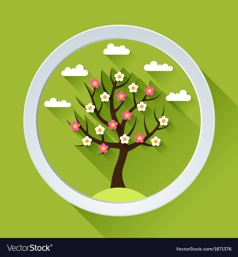 Background with spring tree in flat design style vector | Price: 1 Credit (USD $1)