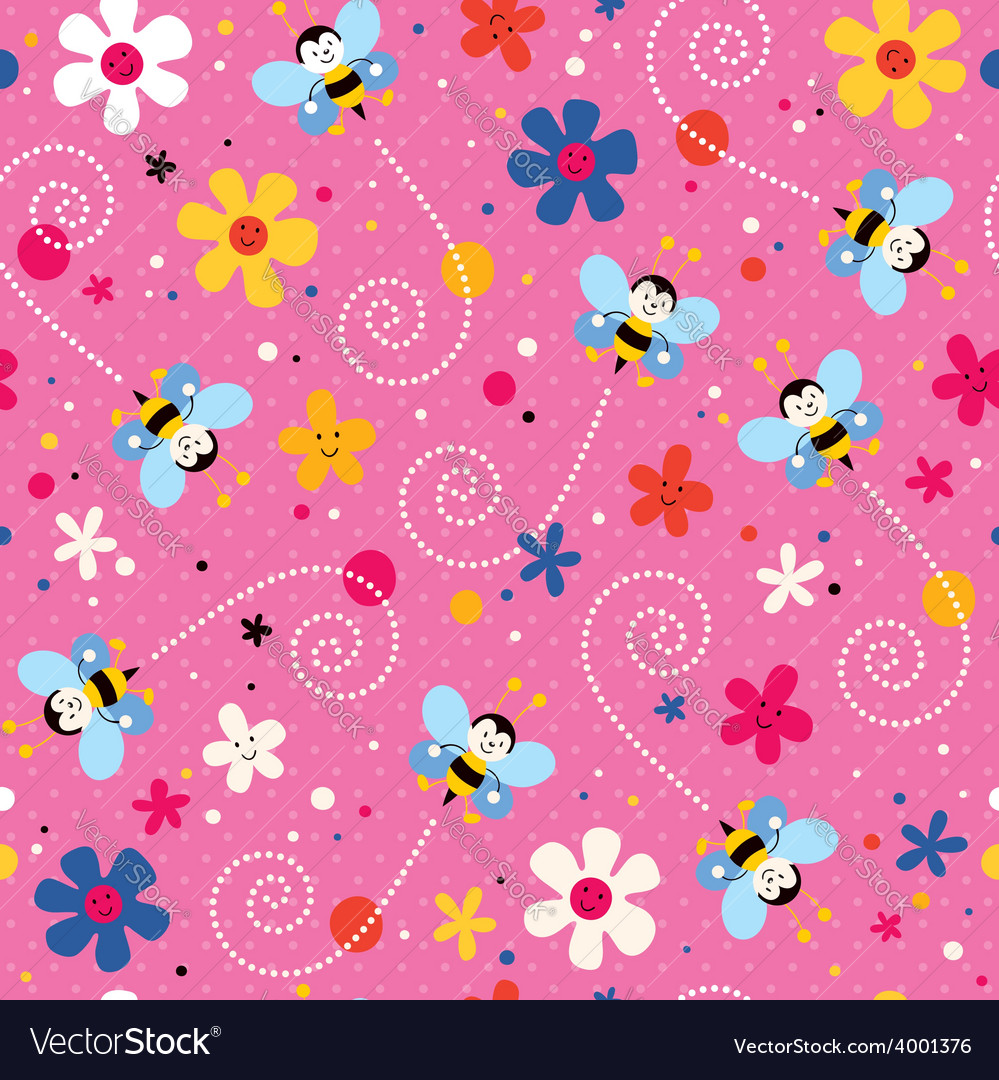 Bees and flowers pattern 2 vector | Price: 1 Credit (USD $1)