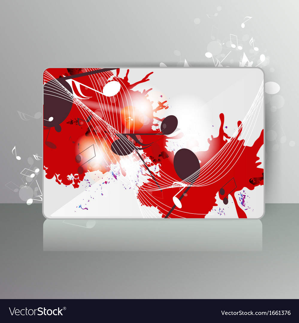 Card with abstract background with music notes vector | Price: 1 Credit (USD $1)