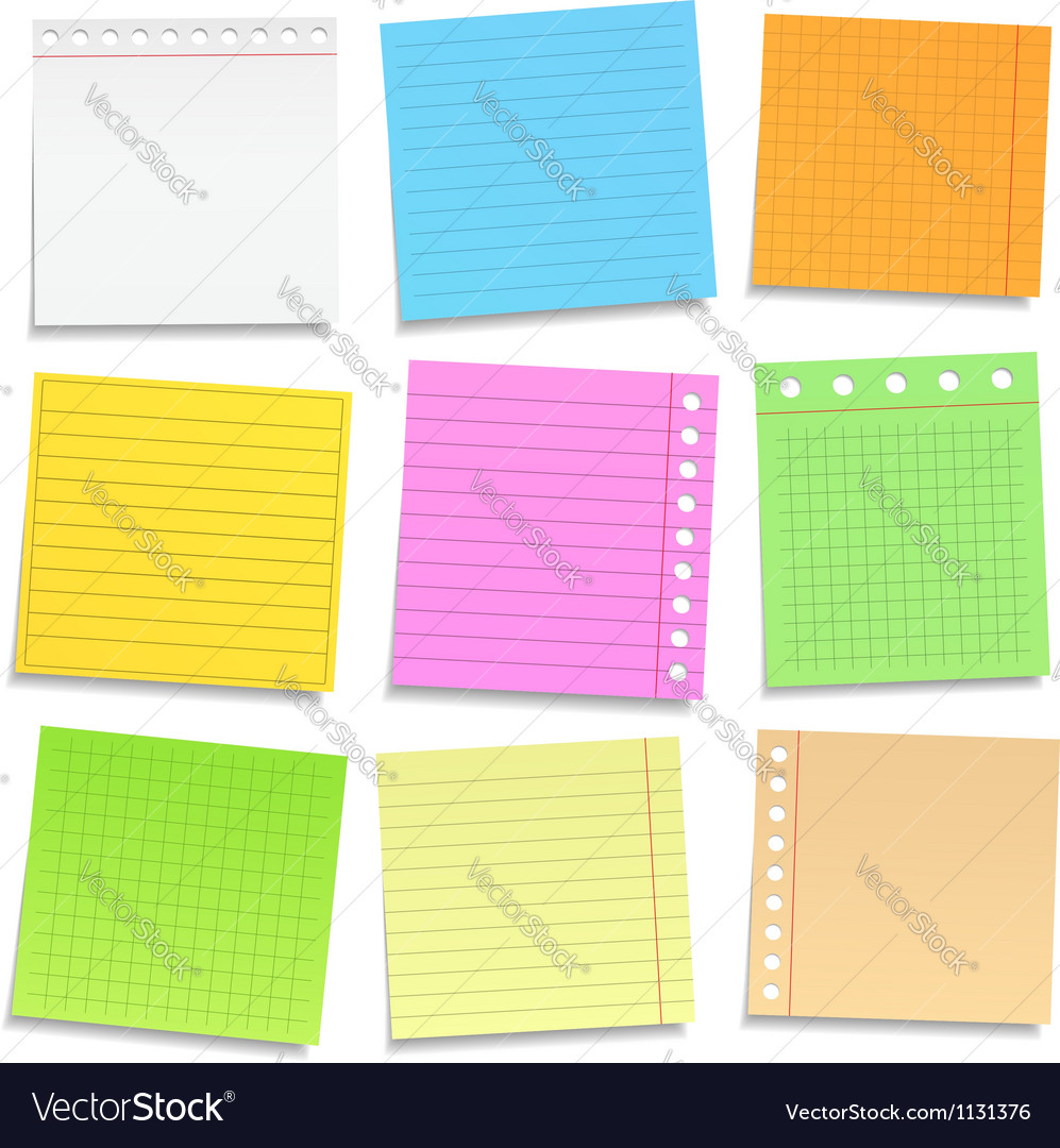 Colored paper notes vector | Price: 1 Credit (USD $1)