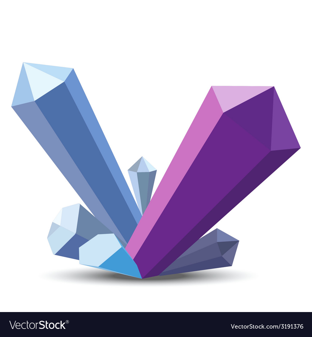 Crystals in flat style on white background vector   Price: 1 Credit (USD $1)