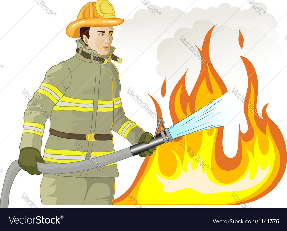 Firefighter with a fire hose against a fire vector | Price: 1 Credit (USD $1)