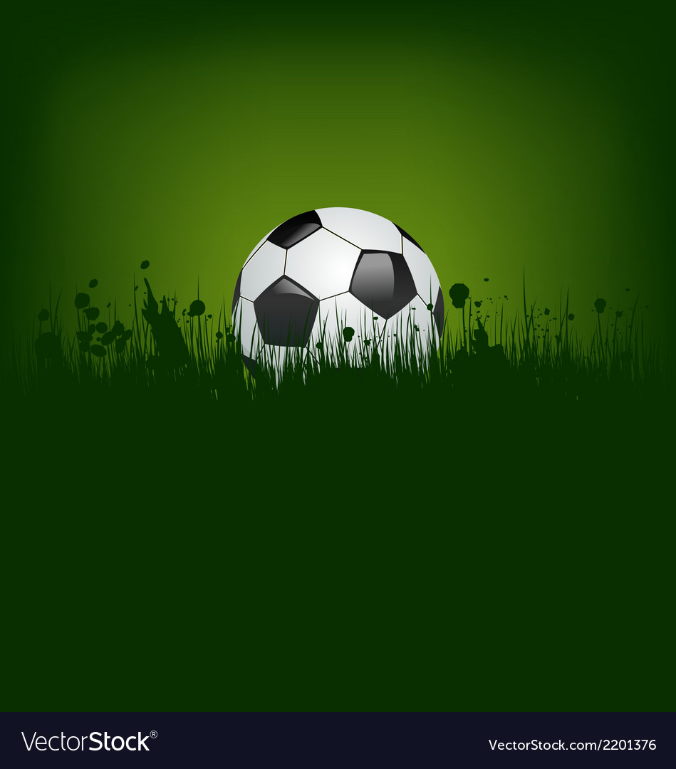 Football card with ball in grass vector | Price: 1 Credit (USD $1)