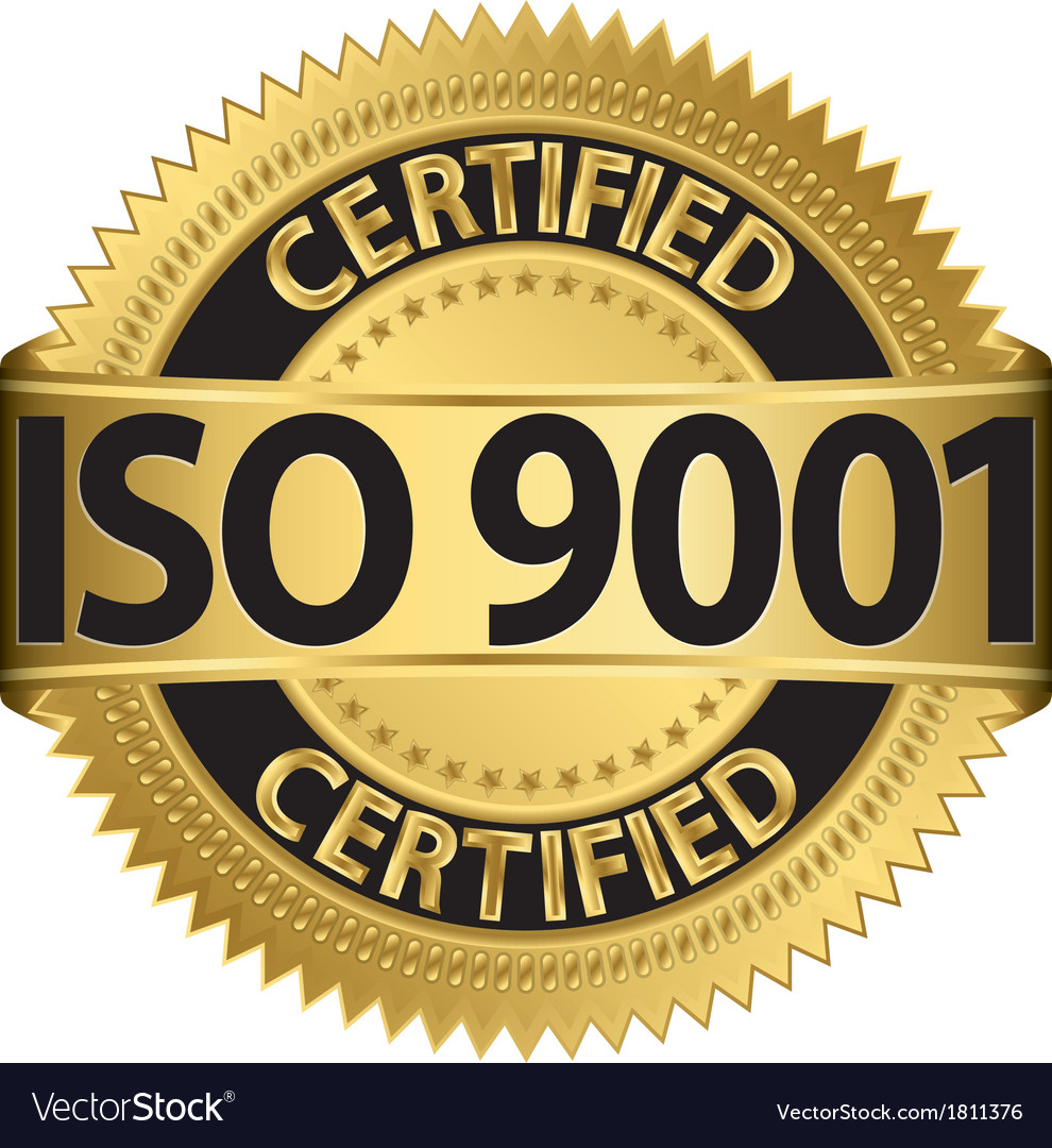 Iso 9001 certified golden label vector | Price: 1 Credit (USD $1)