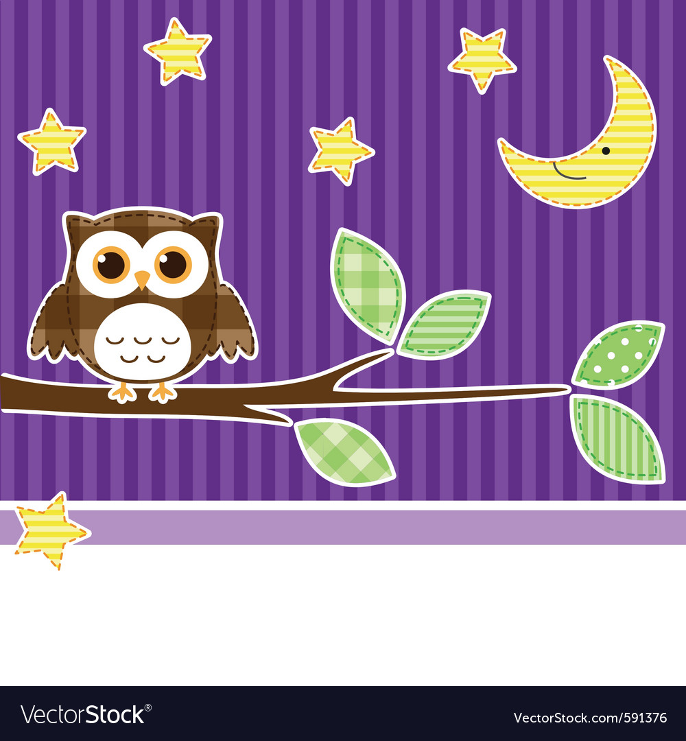 Owl at night vector | Price: 1 Credit (USD $1)
