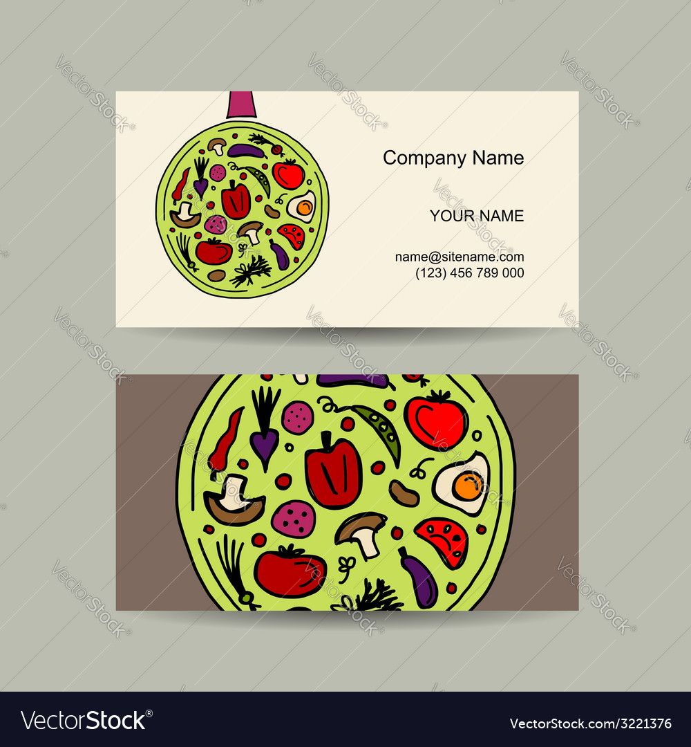 Pan with vegetables business card design vector | Price: 1 Credit (USD $1)