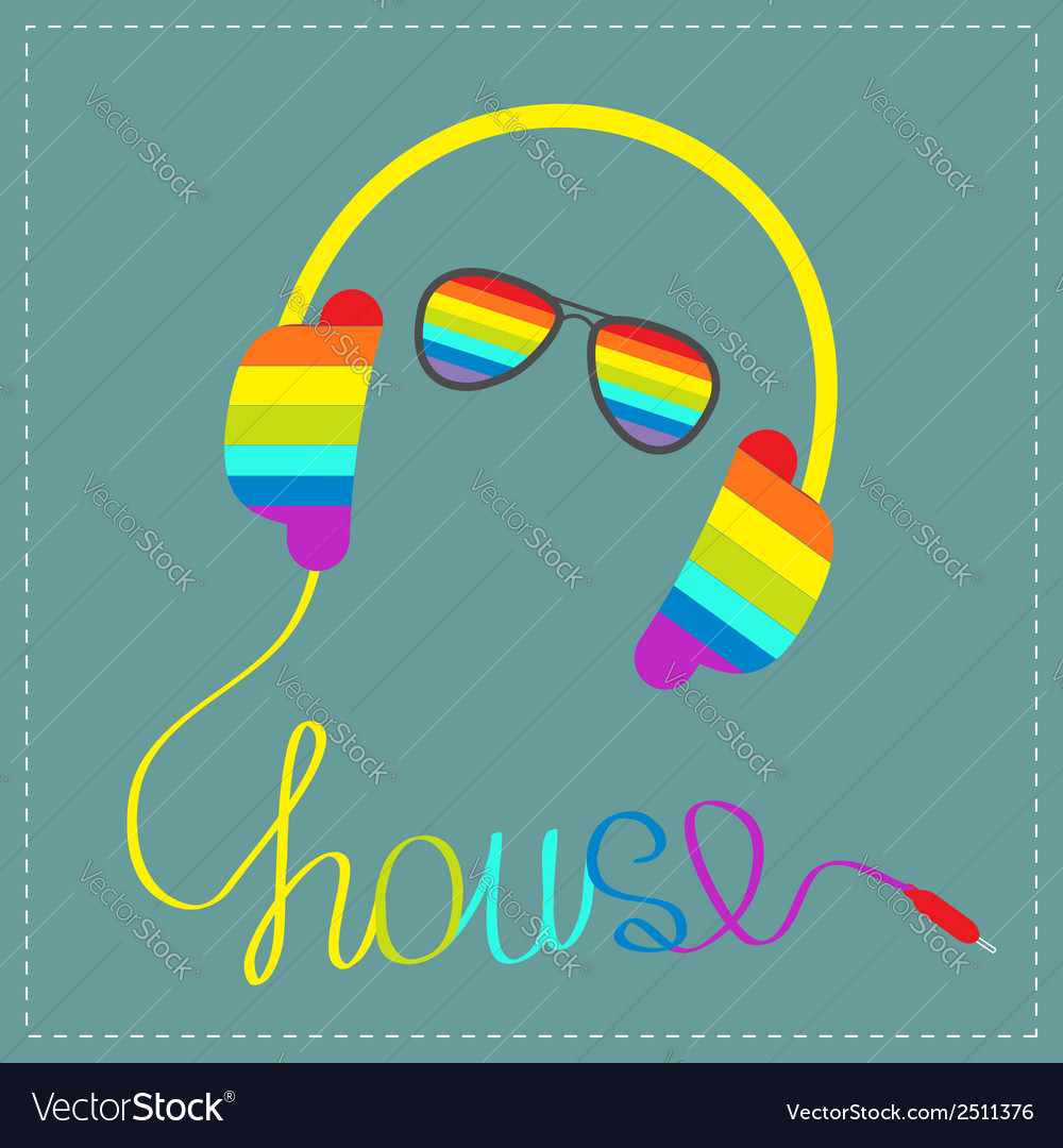 Rainbow headphones and glasses word house vector | Price: 1 Credit (USD $1)