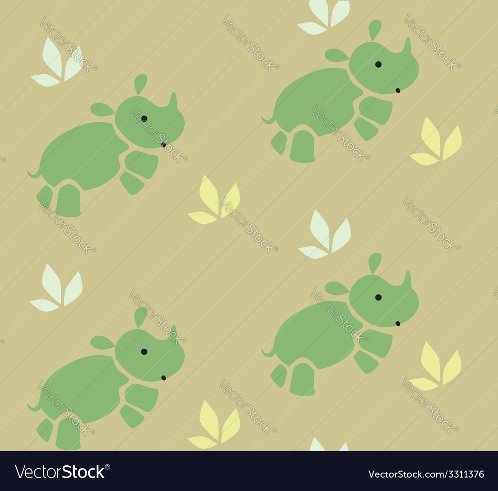 Seamless pattern with funny rhinos vector | Price: 1 Credit (USD $1)