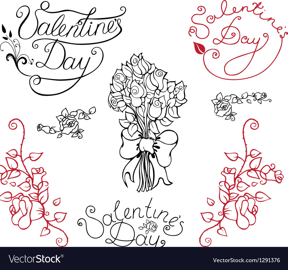 Set of elements for valentine day vector | Price: 1 Credit (USD $1)