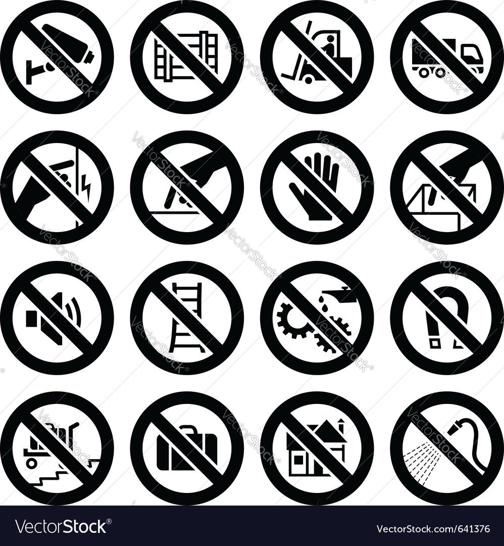 Set prohibited symbols industrial hazard black sig vector | Price: 1 Credit (USD $1)