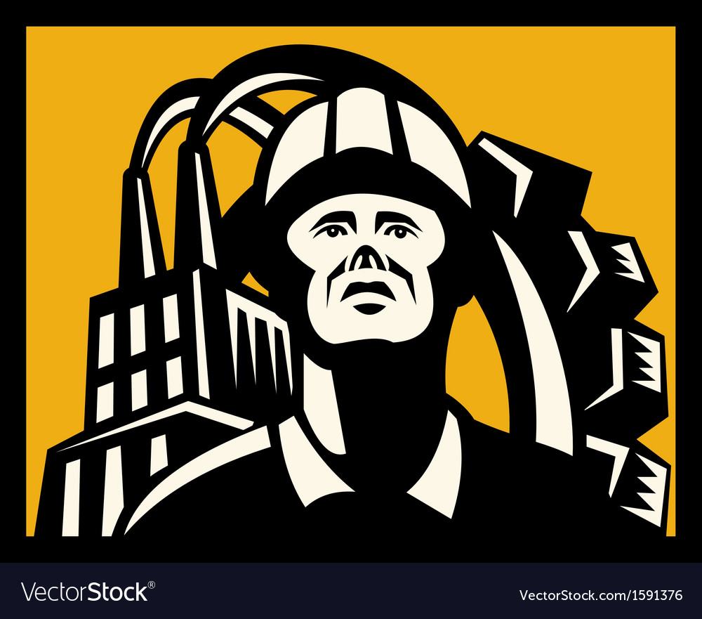 Worker with factory building and gear in back vector | Price: 1 Credit (USD $1)