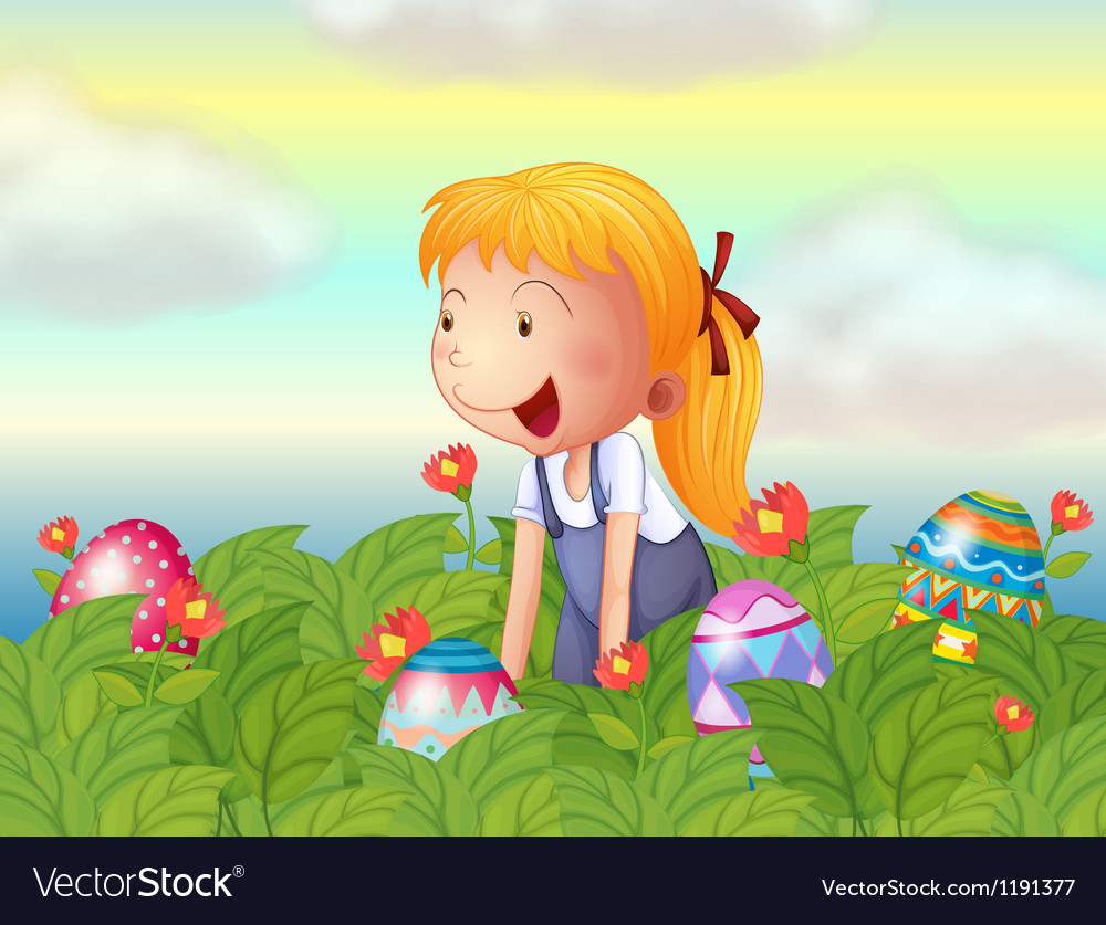 A girl seeing eggs in the garden vector | Price: 1 Credit (USD $1)
