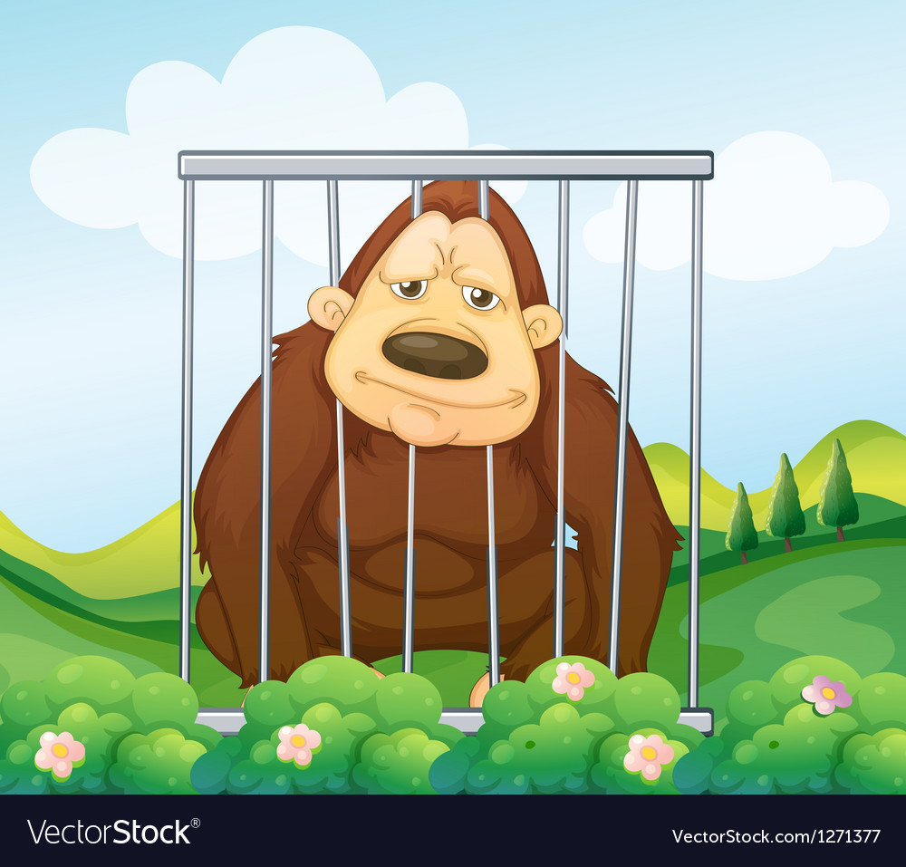 A gorilla in a cage vector | Price: 1 Credit (USD $1)
