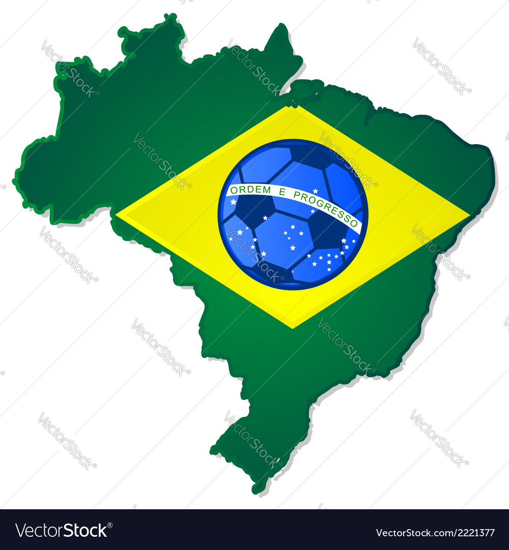 Brazil map and flag with soccer ball in the middle vector | Price: 1 Credit (USD $1)