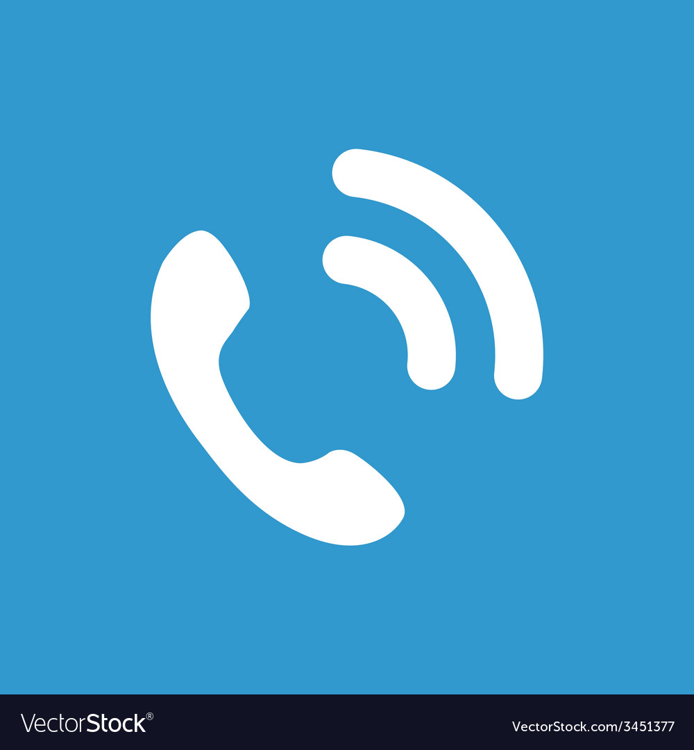 Call icon white on the blue background vector | Price: 1 Credit (USD $1)