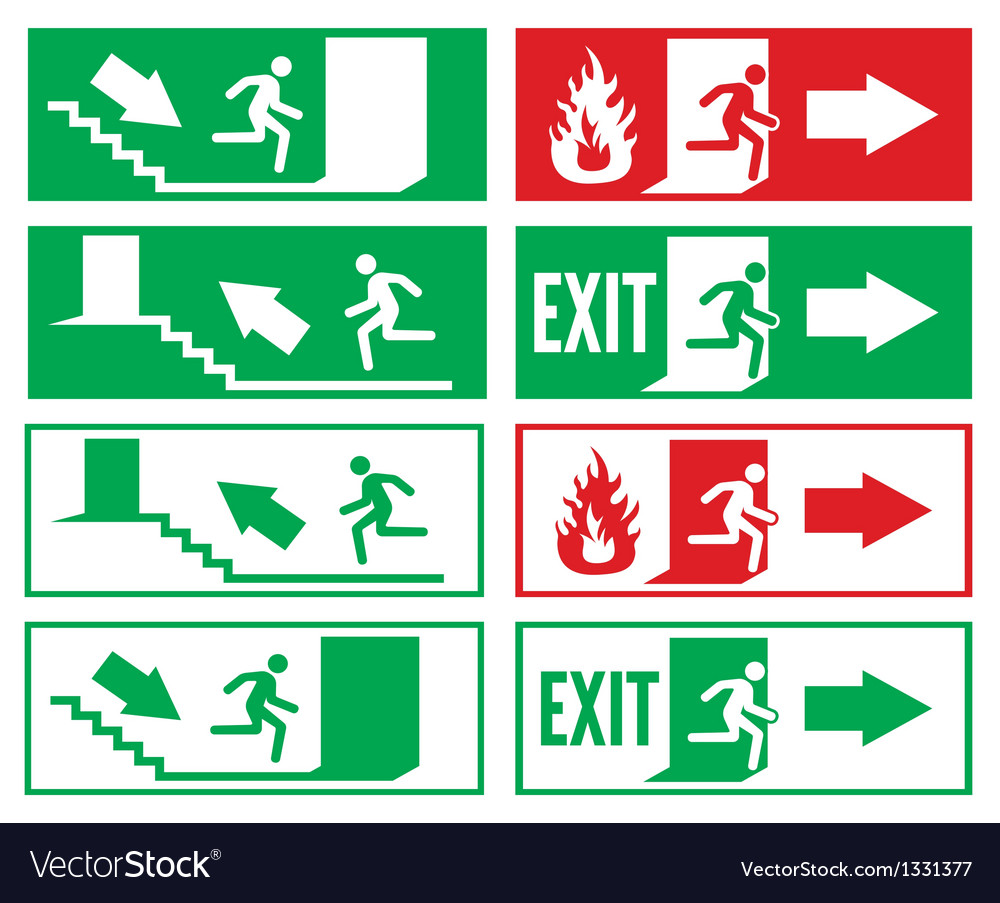 Emergency exit signs vector | Price: 1 Credit (USD $1)